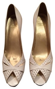 Stuart Weitzman Leather Heel Designer Perforated Open Toe Cream Pumps