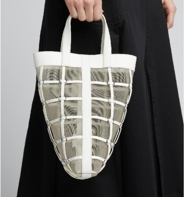Item - Tote Mini Billie Twisted White Leather and Mesh Cross Body Bag