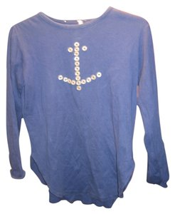 Saks Fifth Avenue Nautical Slits Anchor Buttons T Shirt Blue