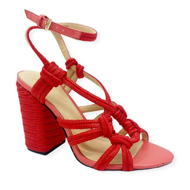 Item - Red Pink Womens 6012 Tiptoe Strappy Pink/Red Chunky Sandals Size US 7 Regular (M, B)