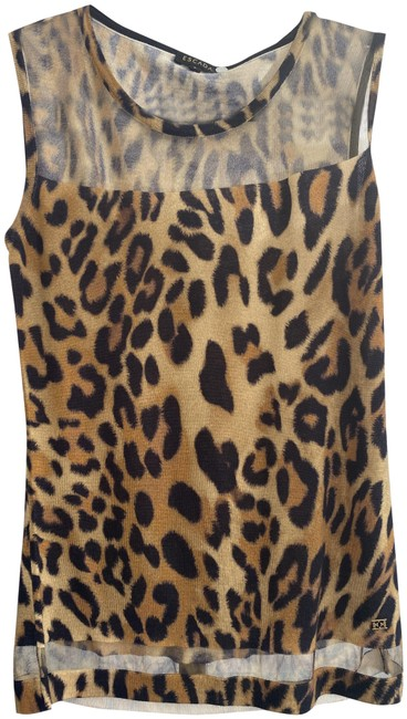Item - Multi-color Leopard Print Sheer Panel Knit Blouse Size 4 (S)