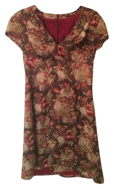 Nanette Lepore short dress Brown Silk Floral on Tradesy