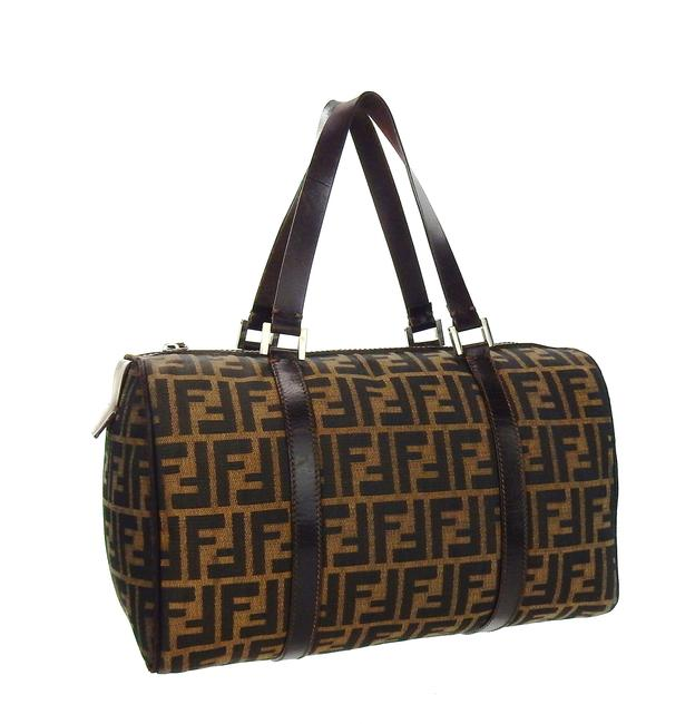 Item - Vintage Duffel Overnight Brown Zucca Canvas Leather Weekend/Travel Bag