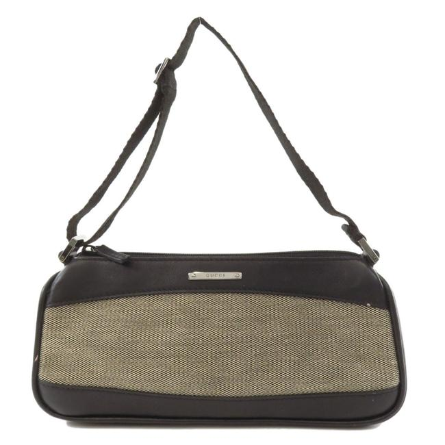 Item - 92820 Logo Hardware Accessory Pouch Canvas Ladies Black / Brown Leather Clutch