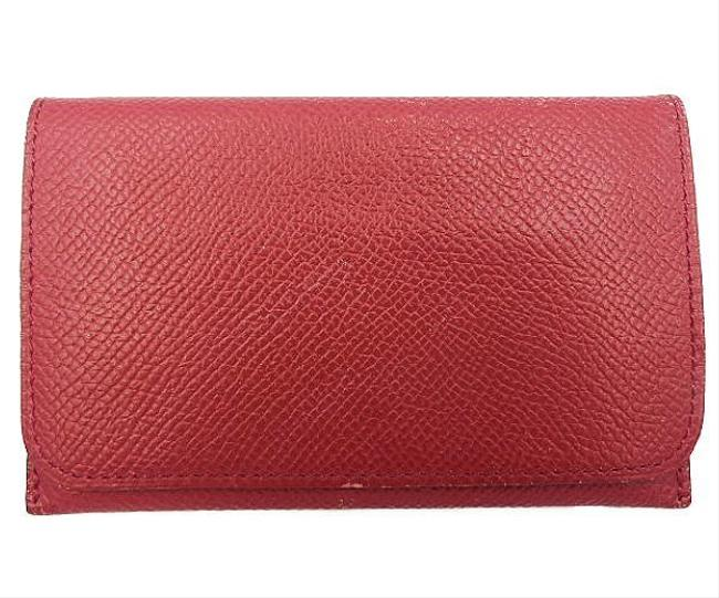 Item - Red Color Leather Card Case Wallet