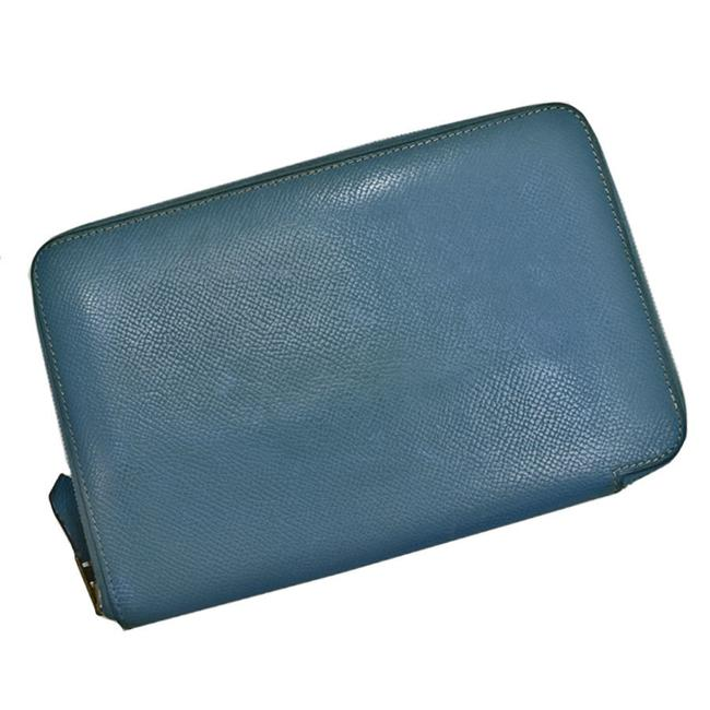 Item - Blue / Gray Long Leather Round Zipper Organizer Women's Men's Wallet