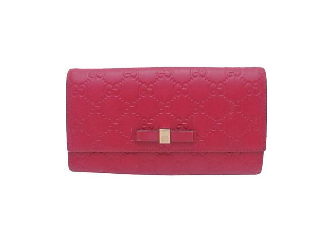 Item - Red Color Long Shima Leather Gold Metal Fittings Ladies Wallet