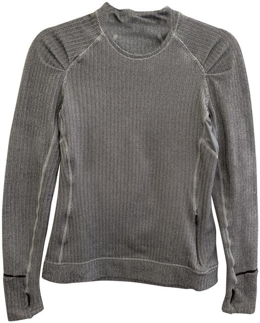Item - Grey Herringbone Think Fast Activewear Top Size 6 (S)