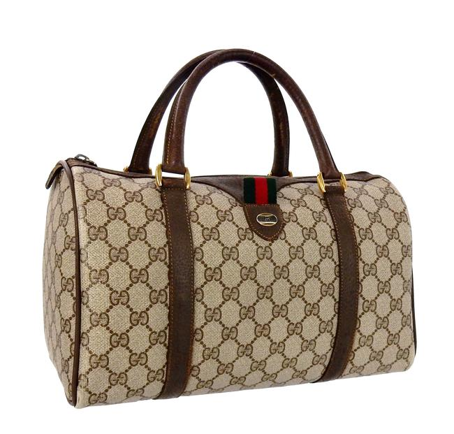 Item - Carry All Boston Vintage Top Handle Brown Supreme Web Gg Monogram Canvas Leather Tote