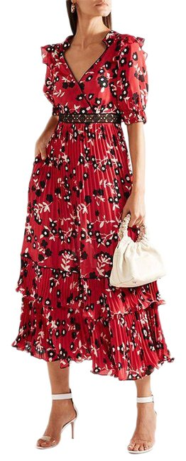 Item - Red Floral Print Pleated Mid-length Cocktail Dress Size 4 (S)