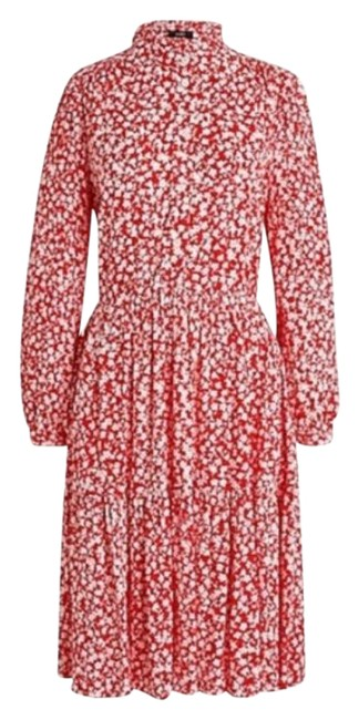 Item - Red White Mid-length Short Casual Dress Size 8 (M)
