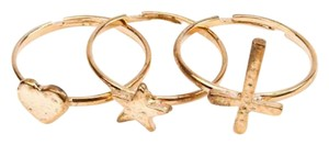 Other Golden stackable cross heart star rings