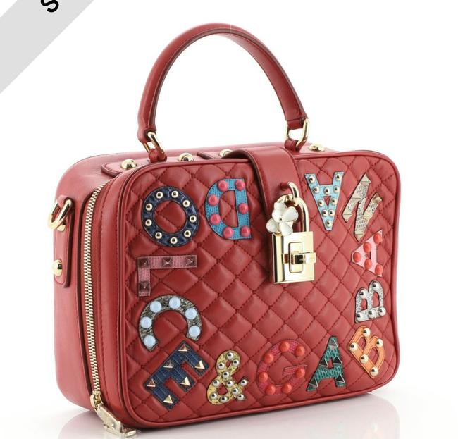Item - Box Dolce & Gabbana Treasure Embellished Quilted Medium Red Leather Satchel