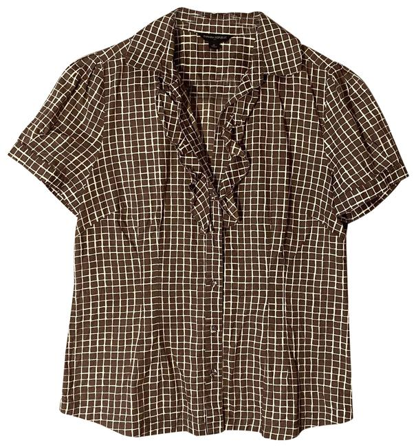 Item - Brown & White Plaid Med Euc Button-down Top Size 8 (M)