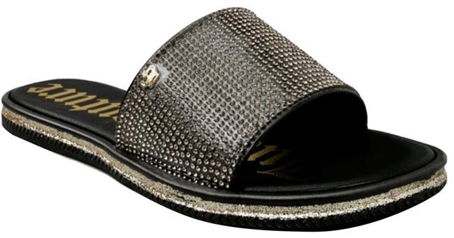 Item - Black Gold Yummy Crystal Embellised Flip Flop Sandals Size US 7 Regular (M, B)
