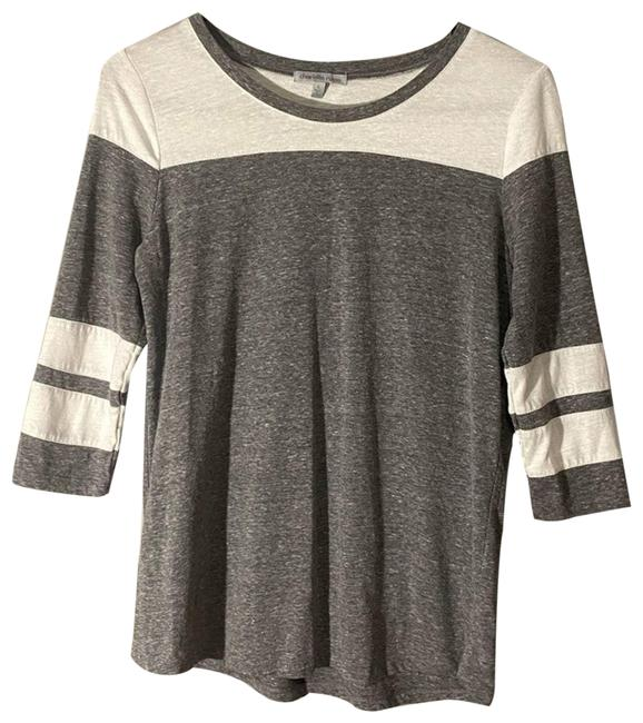 Item - Gray Color-block T-shirt Blouse Size 6 (S)