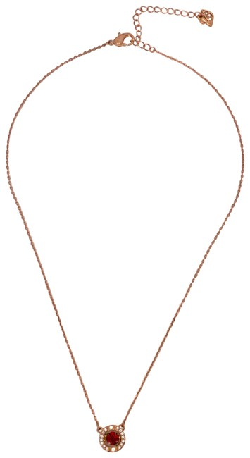 Item - Rose Gold New Dance Around Red Crystal Pendant Necklace