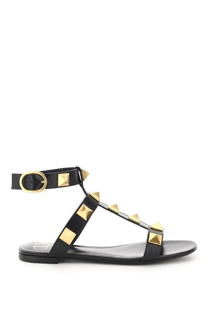 Item - Garavani Black Roman Flat Stud Sandals Size EU 36 (Approx. US 6) Regular (M, B)