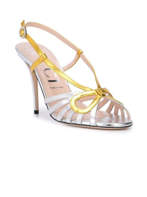 Item - Silver Gold Metallic Leather Crossed Bow Sandals Size EU 37 (Approx. US 7) Regular (M, B)
