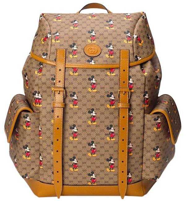 Item - New Disney Mickey Mouse Beige Brown Gg Supreme Canvas Backpack