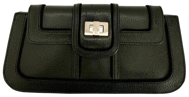 Item - Textured Silver Logo'd Toggle Black Leather Clutch
