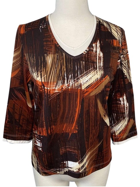 Item - Brown Women's Abstract Xsp Blouse Size Petite 2 (XS)