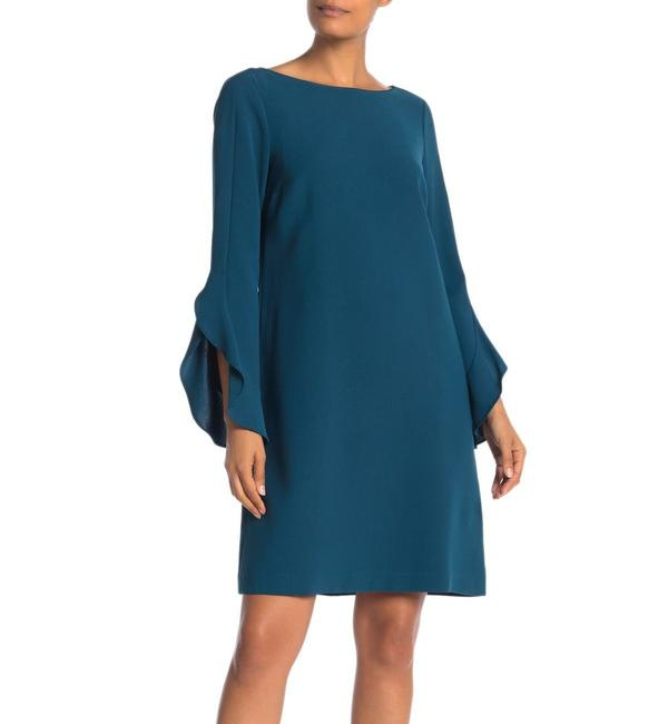 Item - Empress Teal Emory Ruffle Sleeves Shift Mid-length Cocktail Dress Size 2 (XS)