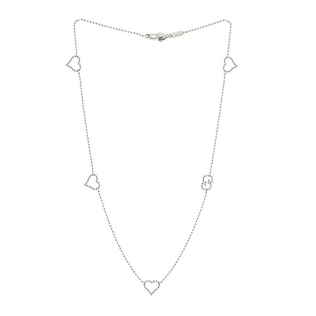 Item - Silver Gg Heart Chain Metal Necklace
