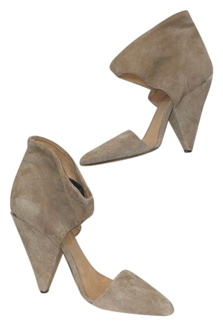 Item - Tan Gray Taupe Suede Triangle Heels Pumps Size EU 38 (Approx. US 8) Regular (M, B)