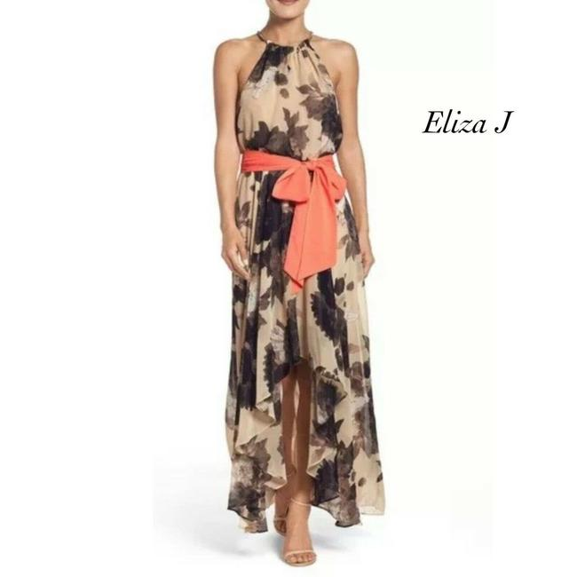 Item - Tan Floral Halter Chiffon Necklace Collar Belted 18w Casual Maxi Dress Size 18 (XL, Plus 0x)