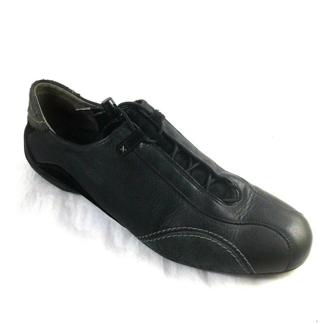 Item - Black Sneaker Leather Suede Lace Flats Size US 9.5 Regular (M, B)