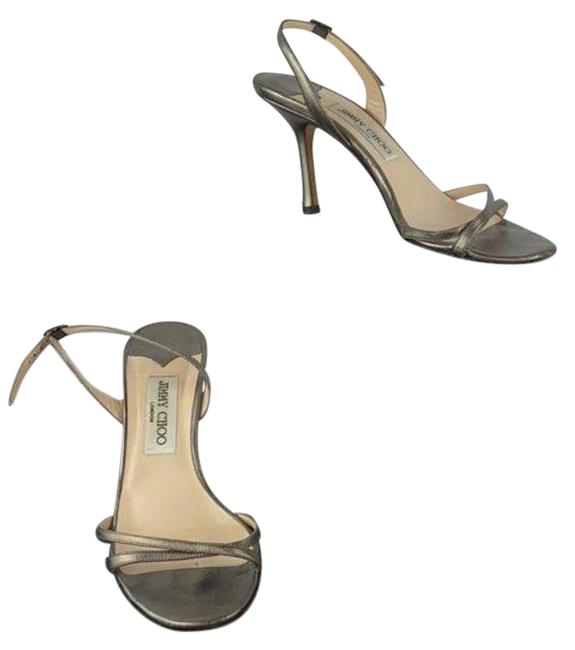 Item - Gold Silver Bronze Strappy Ankle Strap Heels Sandals Size EU 37.5 (Approx. US 7.5) Regular (M, B)