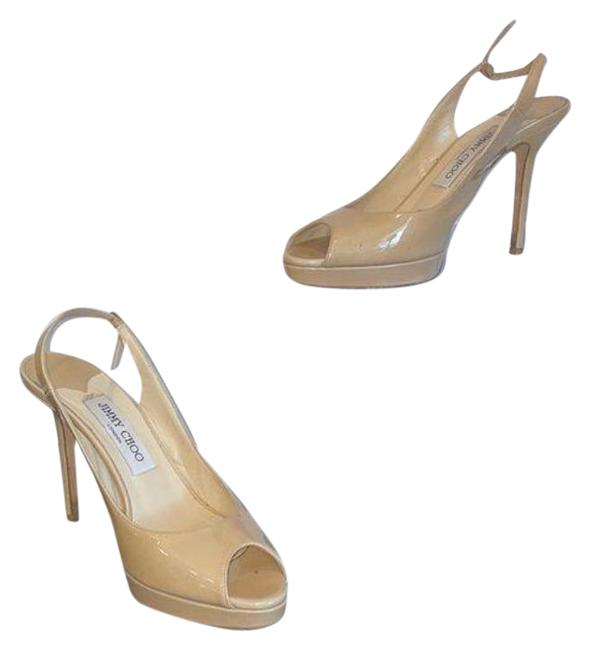 Item - Tan Cream Nude Patent Peep Toe Heels Platforms Size EU 38.5 (Approx. US 8.5) Regular (M, B)