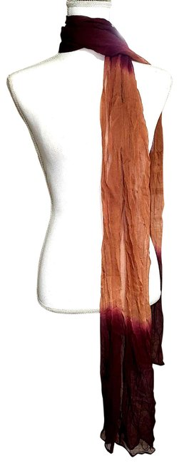 Item - Red Womens Long Sheer Maroon Gold Multicolored 996 Scarf/Wrap