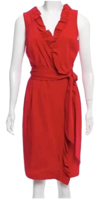 Item - Red Wrap Ruffle Mid-length Cocktail Dress Size 4 (S)