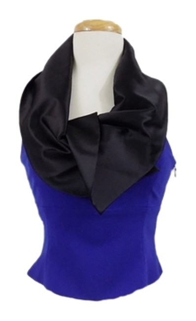 Emporio Armani Vintage Cowl Neck Fancy Side Zip Top Royal Blue/Black