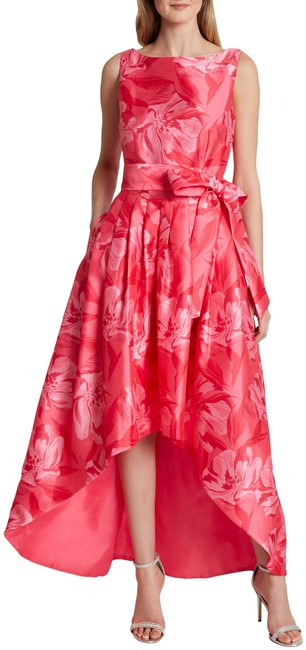 Item - Coral Pink Tie Waist Mikado High/Low Gown Long Formal Dress Size 4 (S)