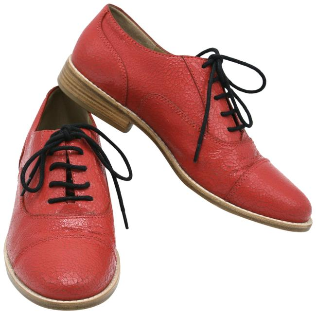 Item - Red Crackled Leather Oxfords Flats Size EU 38.5 (Approx. US 8.5) Regular (M, B)