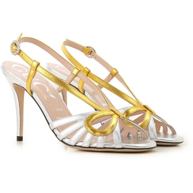 Item - Silver Gold Metallic Leather Crossed Bow Sandals Size EU 38 (Approx. US 8) Regular (M, B)