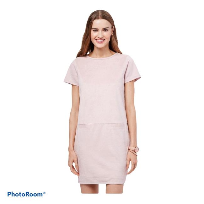 Item - Dusty Pink Faux Suede Shift Short Casual Dress Size 6 (S)