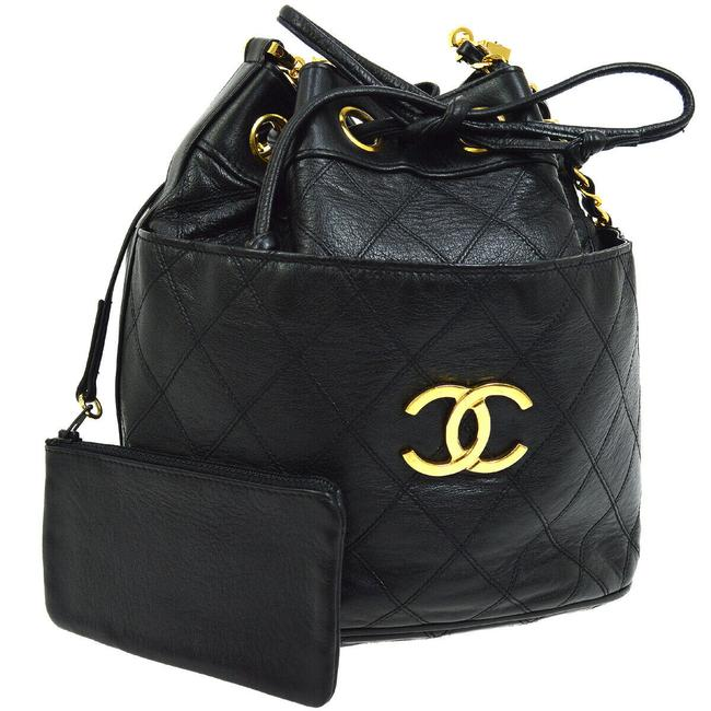 Item - Classic Flap Drawstring Rare Vintage Runway with Wallet Pouch Black Lambskin Leather Shoulder Bag