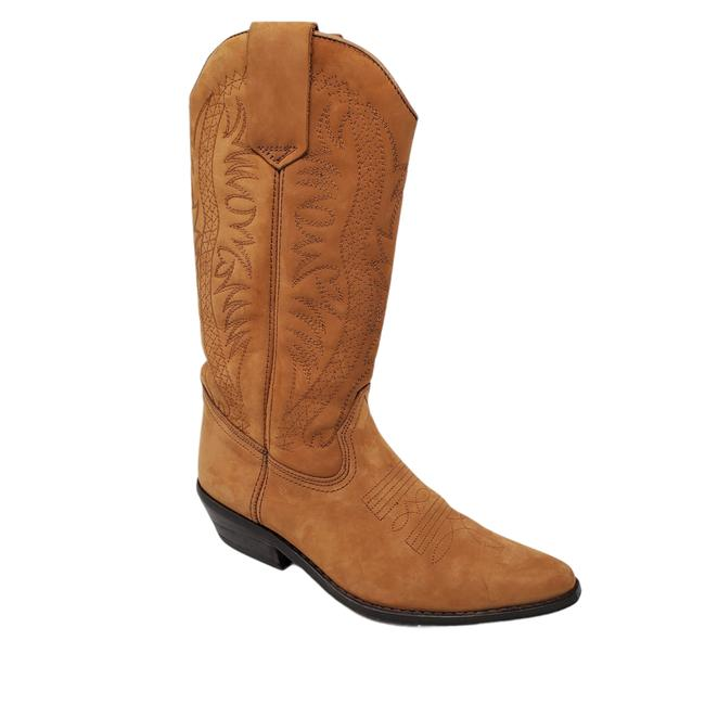 Item - Tan Leather Stitched Pull On Cowboy Western Boots/Booties Size EU 38 (Approx. US 8) Regular (M, B)