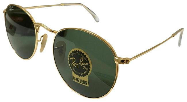 Item - Gold Frame Green Lens Round Metal with 50mm Sunglasses