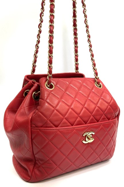 Chanel Chain Bucket Quilted Red Lambskin Leather Cross Body Bag Chanel Chain Bucket Quilted Red Lambskin Leather Cross Body Bag Image 1