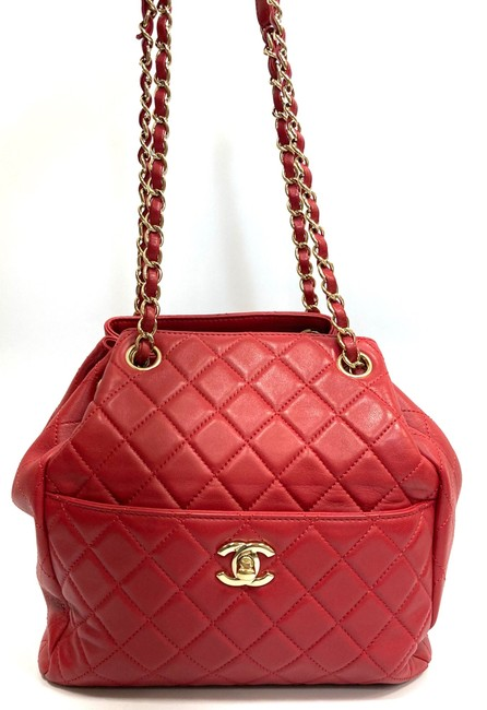 Chanel Chain Bucket Quilted Red Lambskin Leather Cross Body Bag Chanel Chain Bucket Quilted Red Lambskin Leather Cross Body Bag Image 2