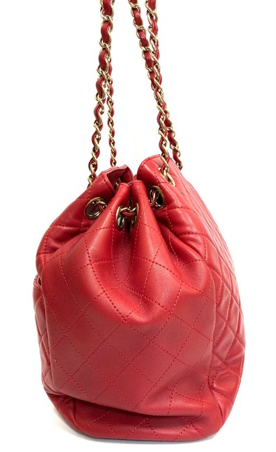 Chanel Chain Bucket Quilted Red Lambskin Leather Cross Body Bag Chanel Chain Bucket Quilted Red Lambskin Leather Cross Body Bag Image 4