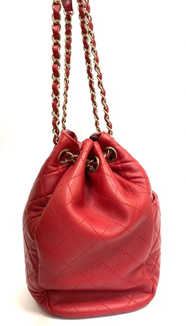 Chanel Chain Bucket Quilted Red Lambskin Leather Cross Body Bag Chanel Chain Bucket Quilted Red Lambskin Leather Cross Body Bag Image 5