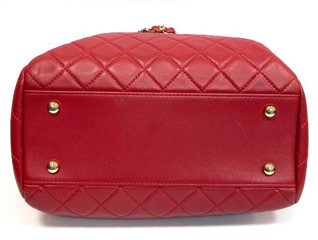 Chanel Chain Bucket Quilted Red Lambskin Leather Cross Body Bag Chanel Chain Bucket Quilted Red Lambskin Leather Cross Body Bag Image 6