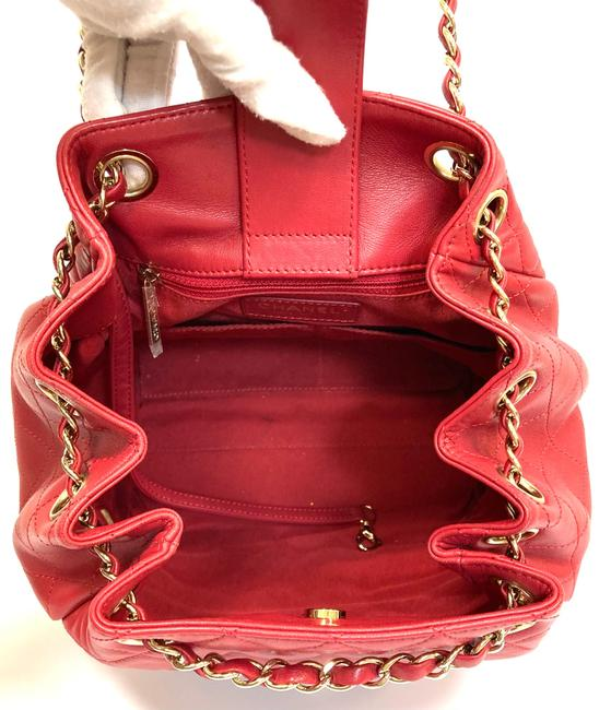 Chanel Chain Bucket Quilted Red Lambskin Leather Cross Body Bag Chanel Chain Bucket Quilted Red Lambskin Leather Cross Body Bag Image 7