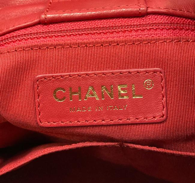Chanel Chain Bucket Quilted Red Lambskin Leather Cross Body Bag Chanel Chain Bucket Quilted Red Lambskin Leather Cross Body Bag Image 8